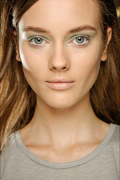 Love the pale green eyes at Derek Lam SS13.
