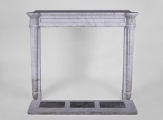 Rare antique Louis XVI style fireplace with half-columns and pine cones in veined Carrara marble (Reference 3135) - Available at Galerie Marc Maison #antique #fireplace #mantel #louis16 #carrara #frenchantiques #marble #marcmaison #saintouen #fleamarket #paris