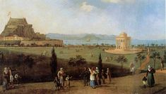 Corfu history is fascinating and turbulent, from first Greek colonization and Roman era up to Venetian rule, Ionian state under French and British rule and the Union with Greece Naples, Corfu Island, Places In Greece, Roman Era, Corfu Greece, Travel Guide, Greek, History, Painting