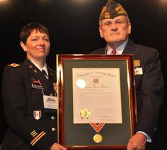 Col. Barbara Holcomb, LRMC Commander, accepts the 2012 VFW Armed Forces Award from Richard L. DeNoyer, Commander-In-Chief of the Veterans of Foreign Wars of the United States, during the 113th VFW National Convention in Reno, Nevada. (Photo Courtesy VFW) Veterans Affairs, Prisoners Of War, National Convention, Medical Center, Armed Forces, Awards, Reno Nevada, Army, United States