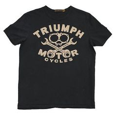 Triumph Johnson Motors Gasket T-shirt - Surprise your special someone with an original Triumph Johnson Motors Gasket T-shirt. Features: - Boasting a gasket and wrench graphic on an oiled black ground,