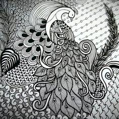 Hobbies And Games Doodle Art Drawing, Zentangle Drawings, Mandala Drawing, Pencil Art Drawings, Art Drawings Sketches, Mandala Art, Madhubani Paintings Peacock, Kalamkari Painting, Madhubani Art
