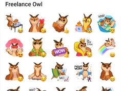 Freelance Owl Sticker Pack #Telegram #Stickers Telegram Stickers, Funny Stickers, Scooby Doo, Owl, Packing, Fictional Characters, Bag Packaging, Owls, Fantasy Characters