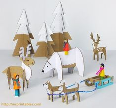 Similar to paper dolls, these Yuletide Friends Cardboard Toys are fun to assemble and even more fun to play with. These Christmas crafts for kids involve some imagination and precision. With the free printable templates, you get a lot of patterns. Kids Crafts, Christmas Crafts For Kids, Christmas Decorations, Crafts Cheap, Childrens Christmas, Cheap Christmas, Holiday Decor, Christmas Ideas, Cardboard Animals