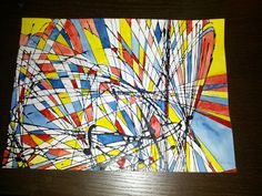 My watercolor art project! Pendulum painting on watercolor paper, paint primary in spaces. Looks like a Mondrian piece! -mallika