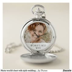 Photo world's best wife wedding anniversary pocket watch. Christmas gift for your mother. Homemade Mothers Day Gifts, Mothers Day Gifts From Daughter, Unique Mothers Day Gifts, Best Wife Ever, Personalized Pocket Watch, Mother's Day Gift Baskets, 25th Wedding Anniversary, Christmas Gift For You, Mom Day
