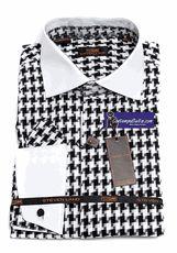 Steven Land Mens Black Houndstooth 100% Cotton Dress Shirt DS1092 16.5 34/35   - click to enlarge