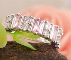 Gorgeous .925 Sterling Silver Pink & White Topaz 9 Stones Band Ring Size 7 #Band