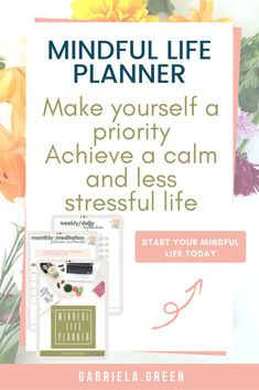 Make yourself a priority and achieve a calm and less stressful life. The Mindful Life Planner will help with your goal setting tracking your ideas and improving your daily life. It has daily weekly monthly and yearly trackers and templates which will h Make Yourself A Priority, Improve Yourself, Finding Yourself, Make It Yourself, Busy Life, Happy Life, Setting Goals, Goal Settings, Daily Positive Affirmations
