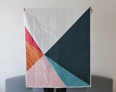 Diagonal Quilt Mod Quilt Throw Blanket Minimalist Quilt   Etsy