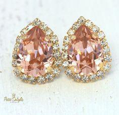 Pink Blush EarringsBlush Pink Teardrop Stud by iloniti on Etsy