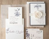 Rustic Ivory Wedding Invitations Elegant Boxed by BeaconLane