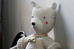 LUNE , white soft bear for girl, handmade in France.