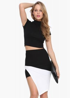 Grace Pencil Skirt in Black/white | Necessary Clothing