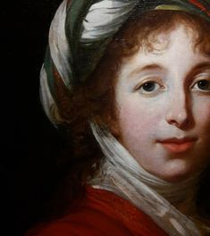 Detail of portrait of Helena Radziwiłł née Przeździecka by Elisabeth Vigée-Lebrun, National Museum in Warsaw. Turban, Great Names, Elisabeth, National Museum, Portrait, Lady, Warsaw, Painting, Detail