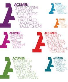 Acumen Logo and Identity: Manifesto broken down into various logos