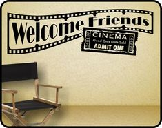 "Home Theater Wall Decal sticker decor – Welcome Friends with Hollywood movie theme x Heimkino Wall Decal Aufkleber Dekor – Willkommen Freunde mit Hollywood Filmthema 38 ""x At Home Movie Theater, Best Home Theater, Home Theater Setup, Home Theater Speakers, Home Theater Seating, Home Theater Design, Movie Theater Theme, Movie Decor, Deco Cinema"