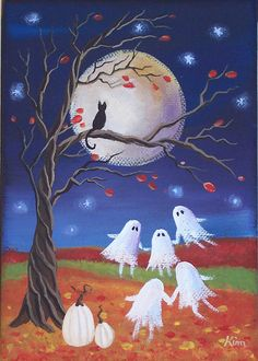 Ghost Dance Halloween Folk Art 7 x 5 Print by KimsCottageArt