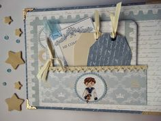 Heli Papeles ♥: Libro de Firmas de Primera Comunión Niño Mini Scrapbook Albums, Baby Scrapbook, Scrapbook Cards, Mini Albums, Pregnancy Diary, First Communion, Big Shot, Mini Books, Decorative Boxes