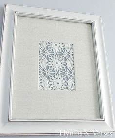 What to do with old doilies from Grandma?  DIY Vintage Doily Art from hymnsandverses!