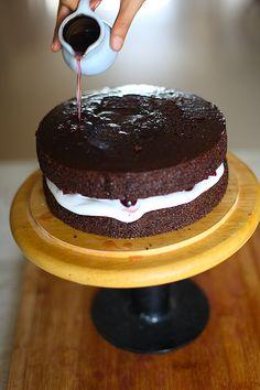Eggless Black Forest Cake   DivineTaste Kiwi Cake, Mango Cake, Chocolate Shavings, Chocolate Cake, Icing Nozzles, Cherry Syrup, Apple Muffins, Black Forest Cake, Almond Cakes