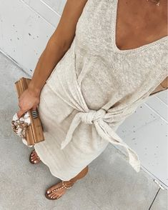 maxi dress / front tie / pearl sandals / bamboo bag / long light dress