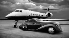 Private jet and look at the car