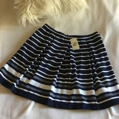 """Max Studio BRAND NEW skirt Max Studio BRAND NEW navy and bone stripe soft skirt. Elastic waist for comfort fit.  Dress this up or wear casually with some cute sandals. ⚓️ just a little over 17"""" long.  Skirt has hidden side pockets Max Studio Skirts"""