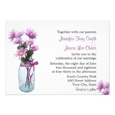 Country Daisies Mason Jar - Wedding Invitation