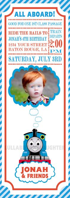 Thomas Train Ticket Invitation / Thomas Invitation / Thomas Birthday Invitation / Thomas the Tank Engine Invitation 5x7 Digital File. $10.99, via Etsy.