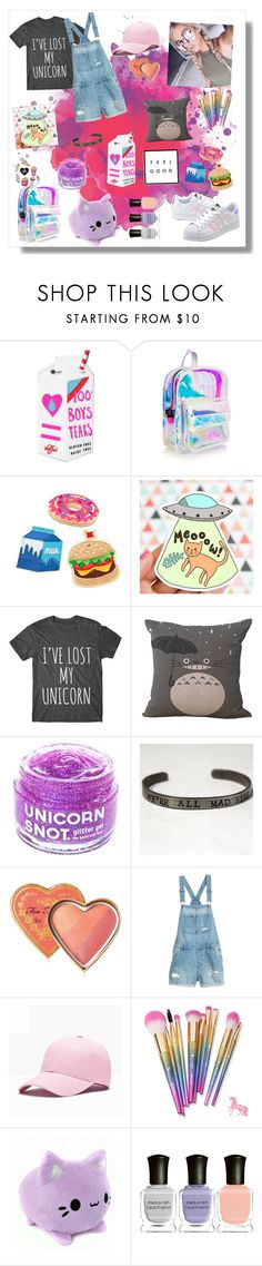 """I've lost my unicorn"" by switchkid ❤ liked on Polyvore featuring Valfré, Mokuyobi Threads, adidas Originals, Ghibli, FCTRY, Too Faced Cosmetics, Deborah Lippmann, tumblr and unicorn"