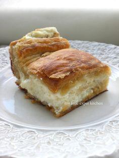 My Little Expat Kitchen: The Tyropita (Greek cheese pie) Greek Cheese Pie, Cheese Pies, Greek Desserts, Greek Recipes, Tiropita Recipe, Greek Pita, Crockpot, Macedonian Food, Greek Cooking