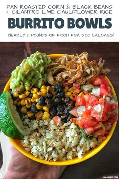 Super simple recipes for pan roasted corn and black beans as well as cilantro lime cauliflower rice to pair with crispy carnitas for delicious high protein, low calorie burrito bowls. Mexican Food Recipes, Whole Food Recipes, Vegetarian Recipes, Dinner Recipes, Simple Recipes, Healthy Recipes, Corn Recipes, Dinner Ideas, Pasta Recipes