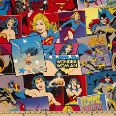 Girl Power Wonder Woman Cotton Fabric Female Super Hero DC Comic Book Postcard fabric 23400201
