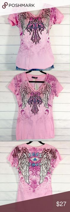 """Angels & Diamonds Graphic Cross & Wings Tee NWT Brand new with tags. NWT. Angels & Diamonds brand from Buckle. Detailed cross and wings graphic on front and back. Embellished with iridescent studs. Truly beautiful! Size Large.  Bust 18""""across flat.  Please ask all your questions before you purchase!  Sorry, no trades or holds. Bundle for your best prices! Buckle Tops Tees - Short Sleeve"""