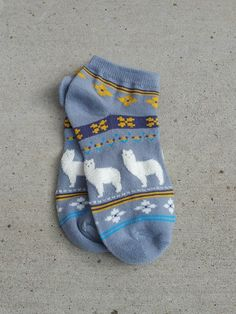 """Wear your alpaca love on your feet with these these cute cotton blend no-show """"Fuzzy Fun"""" alpaca themed socks! Alpaca socks featuring our favorite camelid in a cute and fuzzy accented style. The alpac"""