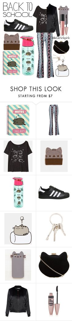 """""""✴Pusheen Power✴"""" by letsthinkpink ❤ liked on Polyvore featuring Pusheen, adidas, Givenchy, New Look, Glamorous, Maybelline, Bare Escentuals, contestentry and PVxPusheen"""
