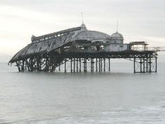 The West Pier was built as a pleasure pier. It cost to build and opened in 1866 and it's deck was feet long. Unfortunately today, only a few supports remain of the West Pier, Brighton, UK. Brighton East Sussex, Brighton England, Brighton And Hove, Old Pictures, Old Photos, Deck Cost, Bognor Regis, Jurassic Coast, Seaside Resort