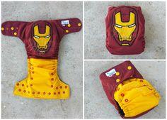 Iron Man appliqued on pocket cloth diaper