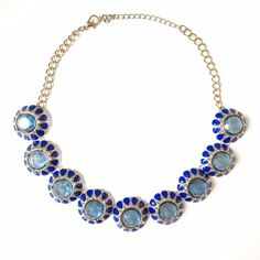 "Blue & Gold Statement Necklace Excellent used condition  Length: 18"" Jewelry Necklaces"