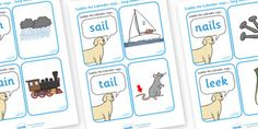 Laddy The Labrador Long Vowel Matching Cards - laddy the labrador, long vowel, matching cards, matching, sail, nail, sounds