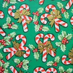 Vintage Candy Canes on Green Christmas Wrapping Paper Full Sheet 20 x 28 Very Merry Christmas, Christmas Past, Green Christmas, Retro Christmas, Christmas Items, Vintage Holiday, Christmas Ornaments, Vintage Christmas Wrapping Paper, Christmas Gift Wrapping
