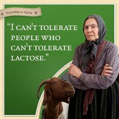"""According to Yiayia, """"I can't tolerate people who can't tolerate lactose."""""""