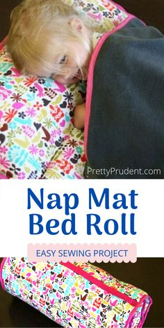 Learn how to sew a DIY Nap Mat/Bed Roll with this step-by-step sewing tutorial. Your kid will be all ready for back to school with a homemade Nap Mat or Bed Roll. Kids Nap Mats, Toddler Nap Mat, Sewing Projects For Kids, Sewing For Kids, Nap Mat Pattern, Sleeping Mats For Kids, Nap Mat Tutorial, Cabana, Sewing Tutorials