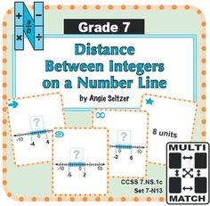 This FREE set of printable Multi-Match game cards helps students learn to find the distance between integers on a number line (CCSS 7.NS.1). They provide excellent preparation for understanding subtraction of integers. These cards are great for math centers and can be used to play four fun, familiar games for 1-4 players. ~by Angie Seltzer