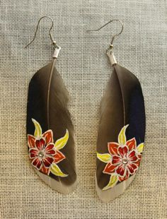 HandPainted Feather Earrings  Sunrise Flowers by TheFeatherArtist, $25.00