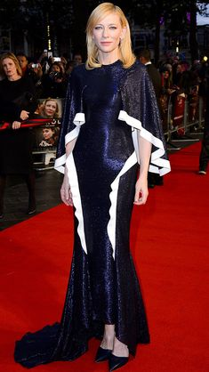 CATE BLANCHETT wears an avant garde navy sequined gown with draped sleeves and Giuseppe Zanotti Design heels to a screening of Carol at the BFI London Film Festival