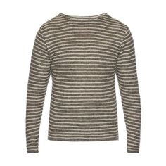 Oliver Spencer Ossian crew-neck striped linen top (17.655 RUB) ❤ liked on Polyvore featuring men's fashion, men's clothing, men's shirts and grey multi