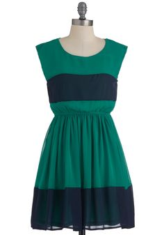 Bocce Court Dress - Short, Green, Blue, Color Block, Party, A-line, Sleeveless, Spring