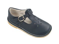 The perfect school shoes for girls heading to school this fall. L'Amour navy t-strap girl shoes.